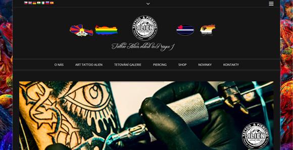 Web tetovacího studia Art Alien v Praze